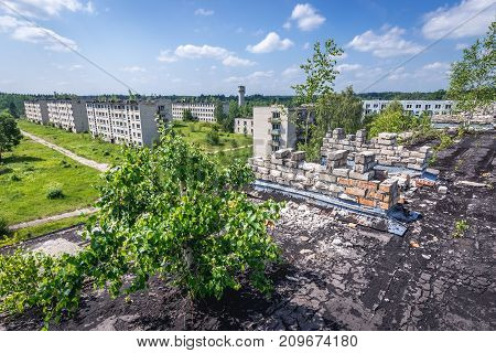 Aerial view on abandoned buildings of former Soviet military town Skrunda-1 in Latvia