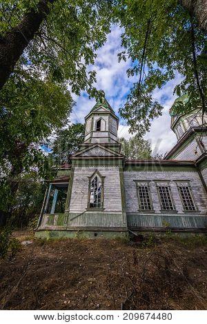 Abandoned Orthodox church in Krasne deserted village of Chernobyl Exclusion Zone Ukraine