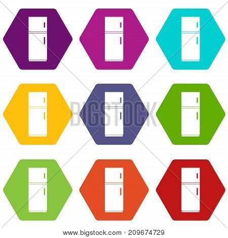 Refrigerator icon set many color hexahedron isolated on white vector illustration