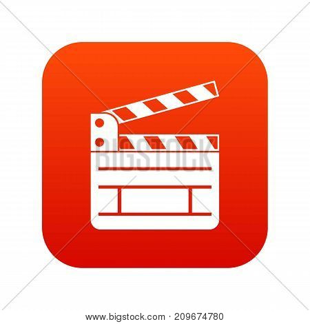 Clapperboard icon digital red for any design isolated on white vector illustration