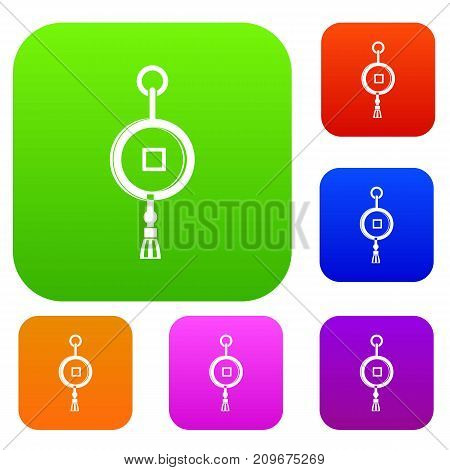 Antique Chinese coin set icon color in flat style isolated on white. Collection sings vector illustration