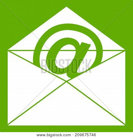 Envelope with email sign icon white isolated on green background. Vector illustration