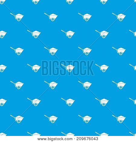 Garden wheelbarrow pattern repeat seamless in blue color for any design. Vector geometric illustration
