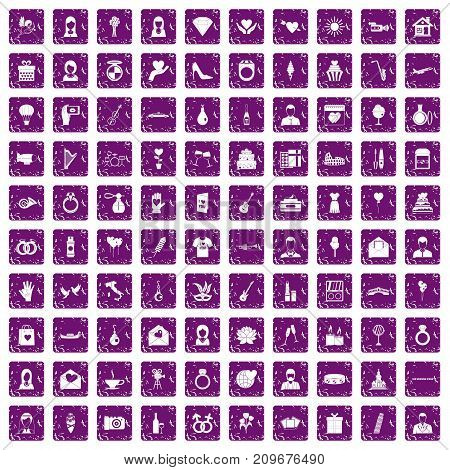 100 wedding icons set in grunge style purple color isolated on white background vector illustration