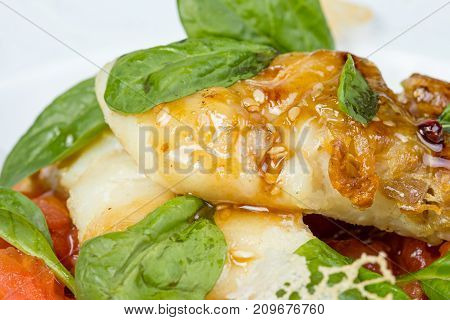 Roasted seabass fillet with vegetables and herbs on white background