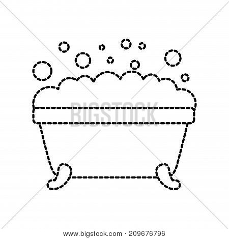 bathtub foam clean hygiene interior ceramic icon vector illustration