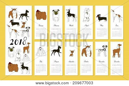 Monthly creative calendar 2018 with dog breeds. Concept vector vertical editable template. Symbol of the year in the Chinese calendar. Minimalism. Vector illustration. Isolated on yellow background