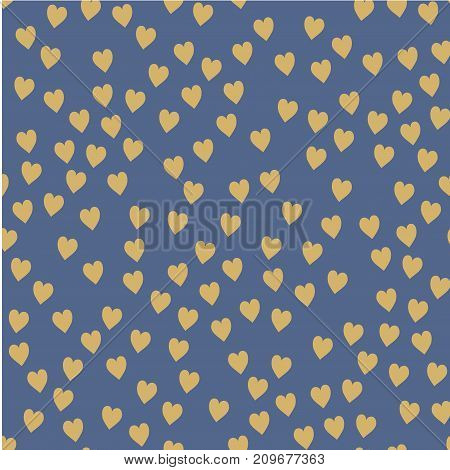 Vector seamless pattern. Randomly disposed hearts. Cute background for print on fabric, paper, scrapbooking. Modern graphic design. Creative print