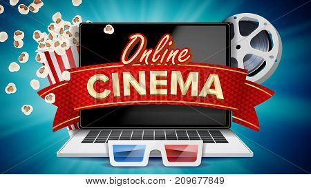 Online Cinema Banner Vector. Realistic Laptop. Film Industry Theme. Box Of Popcorn, Elements Of The Movie Theater. Illustration