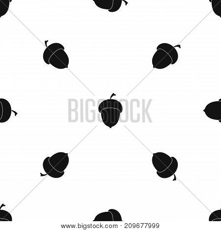 Acorn pattern repeat seamless in black color for any design. Vector geometric illustration