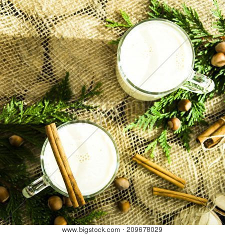eggnog - hot winter alcoholic drink with milk. Top view