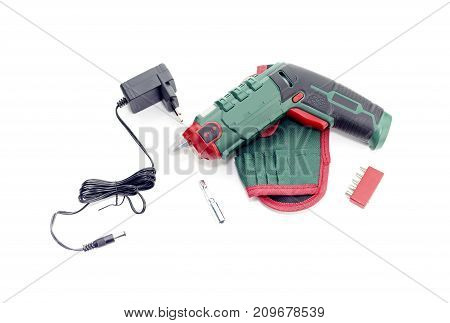 The new, modern, cordless electric screwdriver on white background close-up