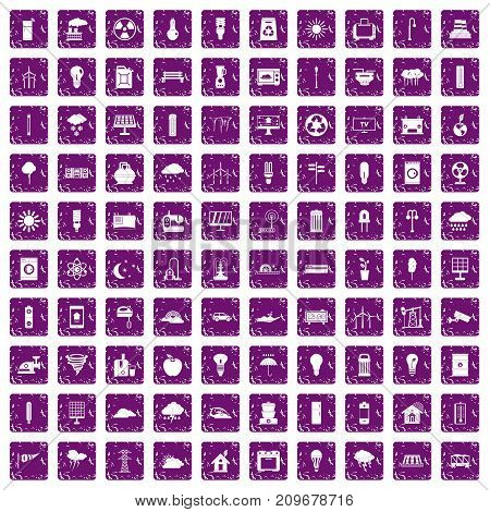 100 windmills icons set in grunge style purple color isolated on white background vector illustration