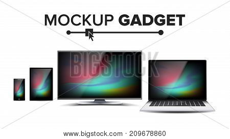 Gadget And Device Mockup Vector. Trendy Electronic Gadgets. Isolated Illustration