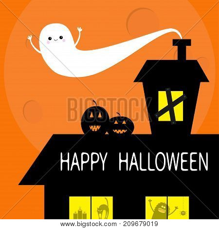Happy Halloween. Flying bat. Haunted house roof attic loft. Light on boarded-up windows. Cat arch back. Monster spider Pumpkin Candle. Big moon Funny cartoon character Orange background. Flat Vector