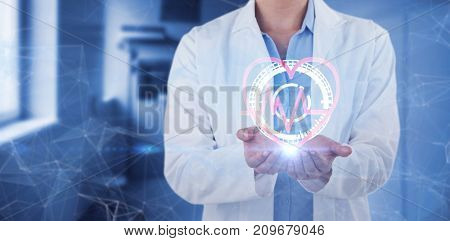 Midsection of female doctor standing with hands cupped against vacant corridor