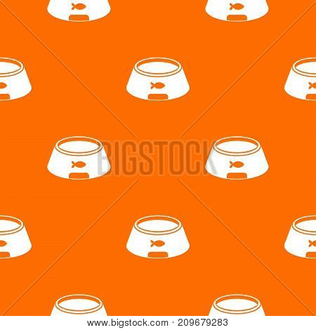 Bowl for animal pattern repeat seamless in orange color for any design. Vector geometric illustration