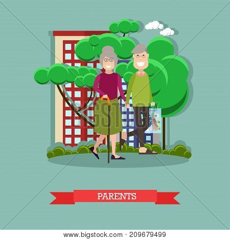 Vector illustration of elderly man and woman walking in the street or in the park. Parents concept design element in flat style.