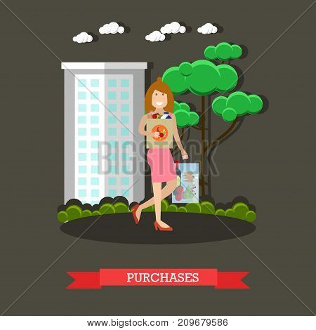 Vector illustration of woman with bags full of groceries. Mother with purchases concept design element in flat style.