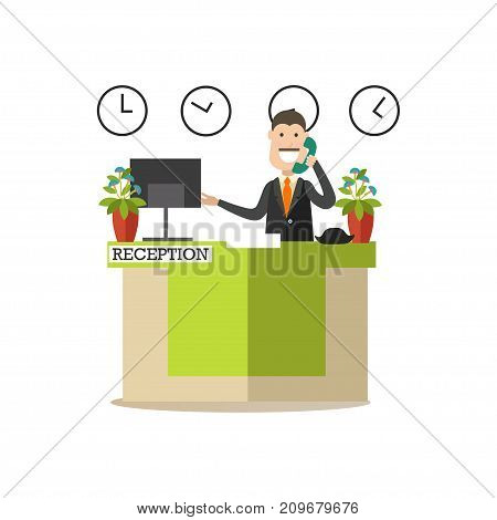 Vector illustration of hotel worker receptionist male standing at reception desk and talking on the telephone. Hotel people flat style design element, icon isolated on white background.