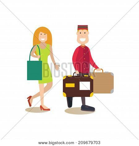 Vector illustration of hotel porter carrying suitcases of client female. Hotel people flat style design element, icon isolated on white background.