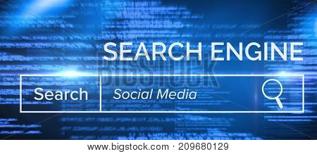 Digitally generated  image of search engine page against blue texts