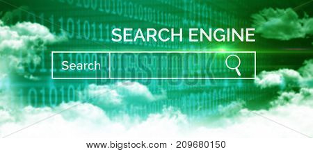 Graphic image of red search engine page against clouds and binary coded computer screen