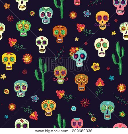 Vector pattern Mexican sugar skulls on a dark background. Skulls, cacti and flowers, colorful simple drawings, wallpaper the day of the dead