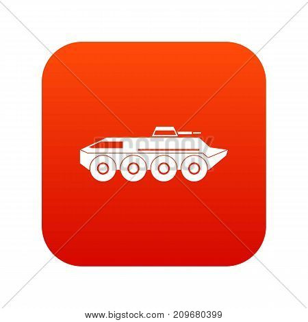 Armored personnel carrier icon digital red for any design isolated on white vector illustration