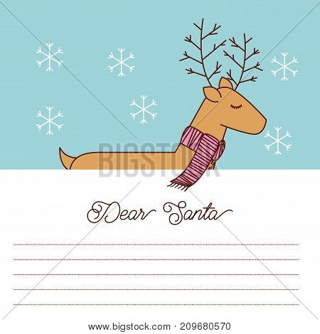 dear santa letter with reindeer scarf celebration space for text vector illustration