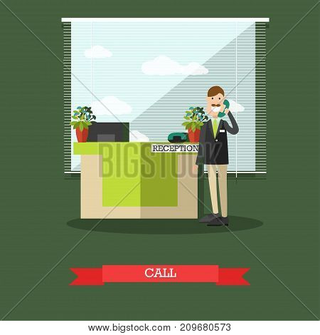 Hotel reception concept vector illustration. Hotel worker receptionist male standing next to reception desk and answering the phone or making a call flat style design element.