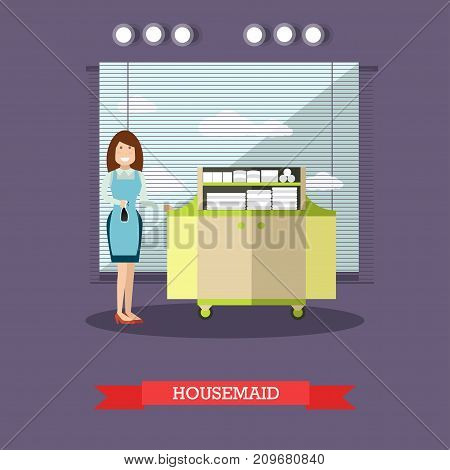 Hotel housemaid flat vector illustration. Cleaning lady or housekeeper standing next to cart with clean bed linen and towels.