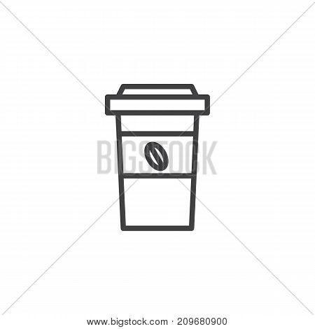 Paper coffee cup line icon, outline vector sign, linear style pictogram isolated on white. Symbol, logo illustration. Editable stroke