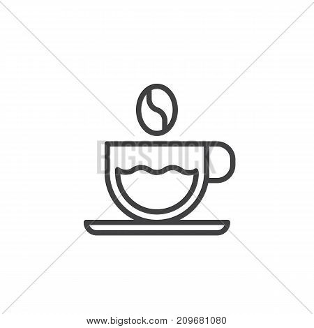 Coffee cup and coffee bean line icon, outline vector sign, linear style pictogram isolated on white. Symbol, logo illustration. Editable stroke