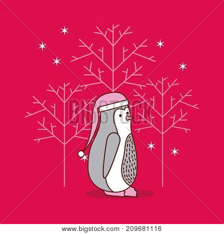 christmas penguin tree snowflake festive traditional vector illustration