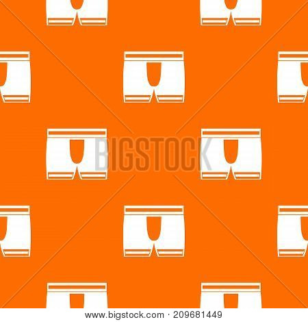 Man boxer briefs pattern repeat seamless in orange color for any design. Vector geometric illustration