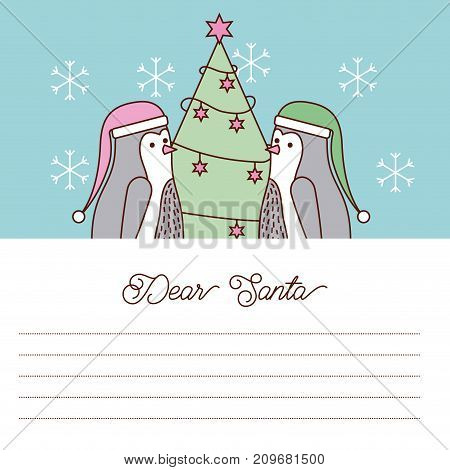 Dear Santa letter penguin tree christmas vector illustration