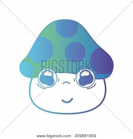line kawaii cute happy fungus plant vector illustration