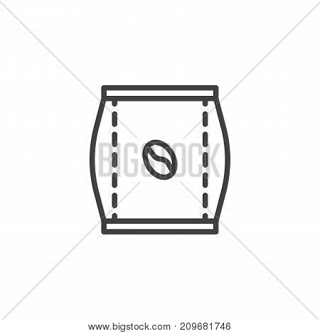 Coffee bag line icon, outline vector sign, linear style pictogram isolated on white. Symbol, logo illustration. Editable stroke