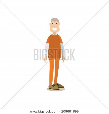 Vector illustration of convicted man or prisoner. Law court people flat style design element, icon isolated on white background.