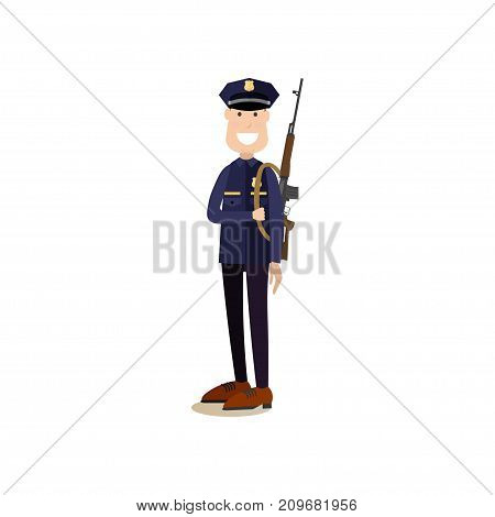 Vector illustration of armed policeman or security guard in uniform. Law court people flat style design element, icon isolated on white background.