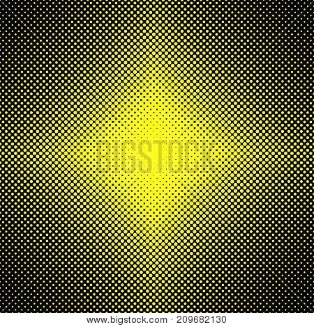 Abstract halftone dot pattern background - vector illustration from yellow circles in varying sizes on black background