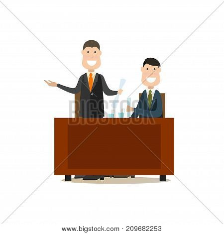Vector illustration of happy lawyer providing the court with the proof of his client innocence. Law court people flat style design element, icon isolated on white background.