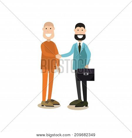 Vector illustration of happy lawyer or defence barrister and defendant celebrating victory in court case. Law court people flat style design element, icon isolated on white background.