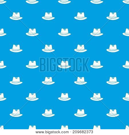 Hat pattern repeat seamless in blue color for any design. Vector geometric illustration
