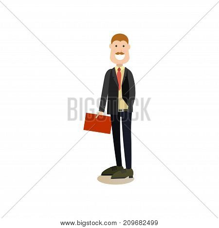Vector illustration of lawyer, attorney or barrister. Law court people flat style design element, icon isolated on white background.