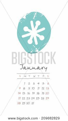 Calendar 2018 months January. Week starts from Sunday. Hand drawn with snowflake eps 10