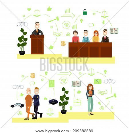 Vector set of legal trial scenes with judge, jury, security guard leading defendant and witness. Law court people flat symbols, icons isolated on white background.