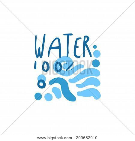 Hand drawn signs of pure water for logo or badge with text. 100 natural. Abstract blue waves. Kids drawing style, ecology theme. Vector eco aqua label for mineral water isolated on white.