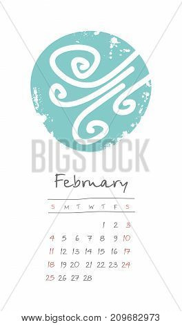 Calendar 2018 months February. Week starts from Sunday. Hand drawn with snowstorm eps 10